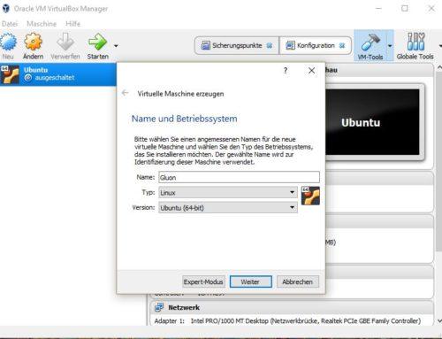 Virtualisiertes Gluon in Virtualbox konfigurieren