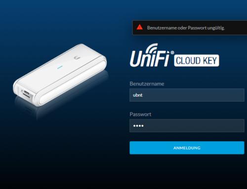 Benutzername oder Kennwort ist falsch nach Update des Cloud Key Controllers